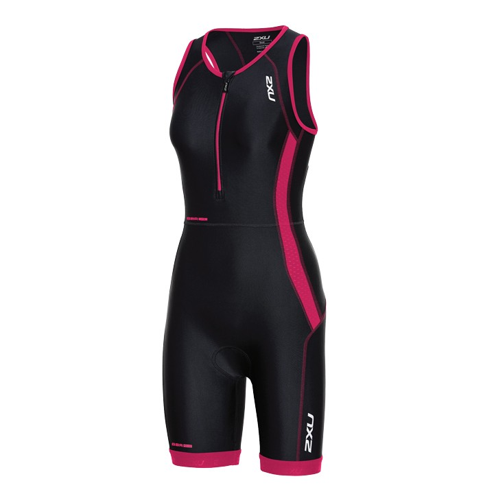 Body triathlon femme 2XU Perform noir-rose fuchsia