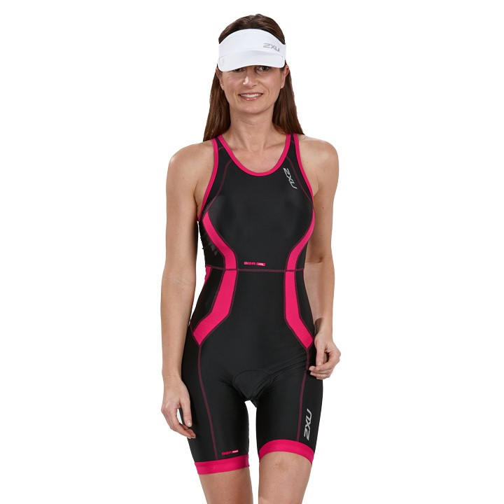 Body triathlon femme 2XU Y-Back noir-rose fuchsia