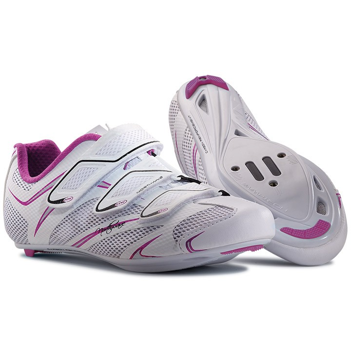 Chaussures route femme NORTHWAVE Starlight 3S blanches-lilas-argent