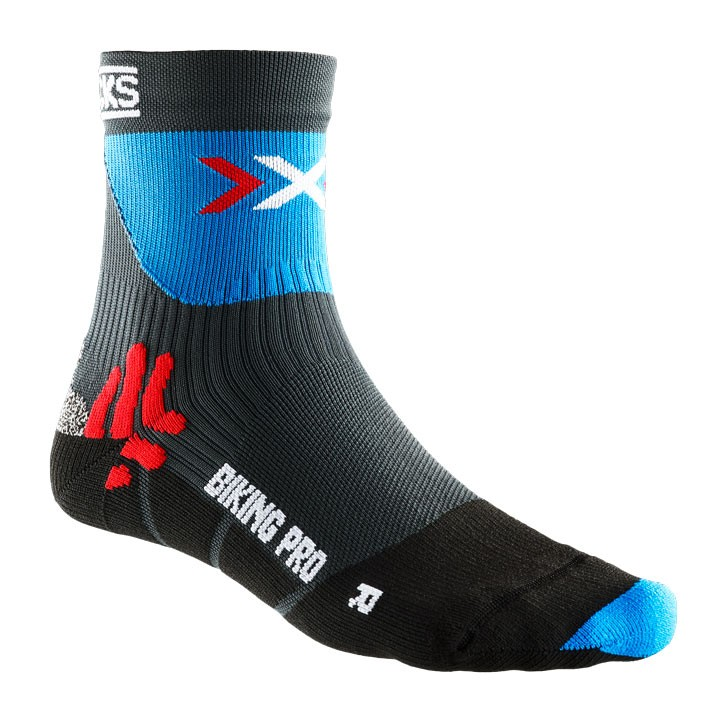 Chaussettes X-SOCKS Pro anthracite-bleues